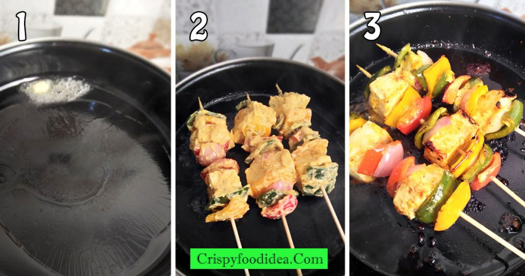 Heat-oil-with-butter-then-place-swekers-to-fry-paneer-tikka
