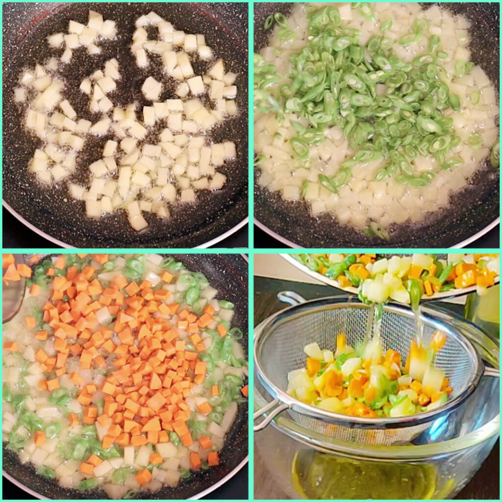 Fry the begetables for the navratan Pulao