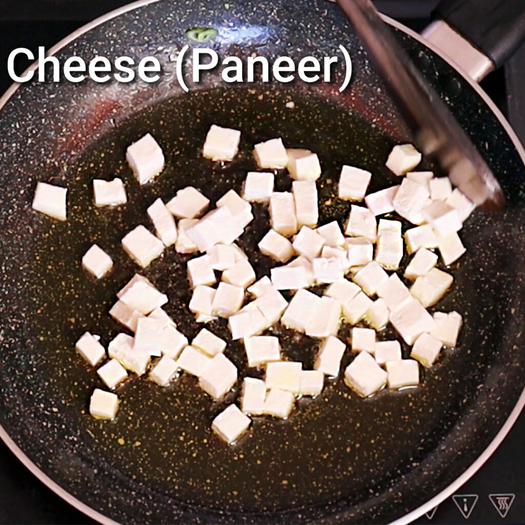 Fry the paneer for the Vegetable rice